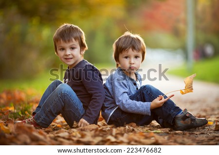 Adorable little boys with autumn leaves in the beauty park , sitting back to back, looking at the camera - stock photo