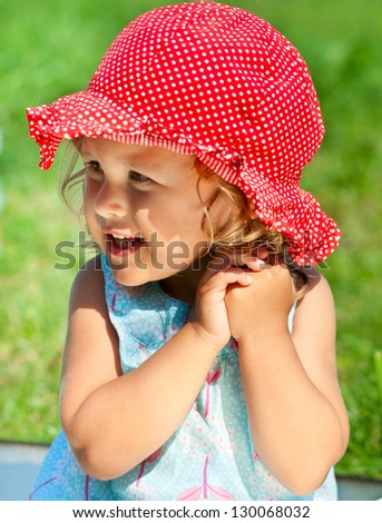 Adorable little child outdoors - stock photo
