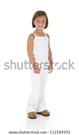 Adorable Little Girl Dressed in White Posing on White Background - stock photo