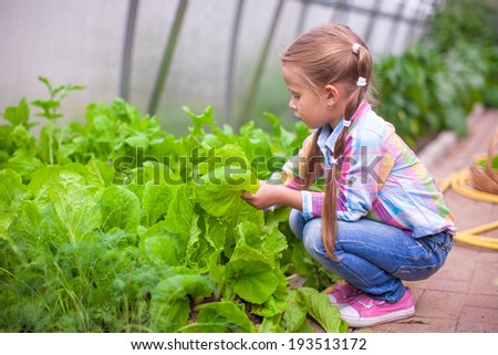 Adorable little girl harvesting in the greenhouse - stock photo