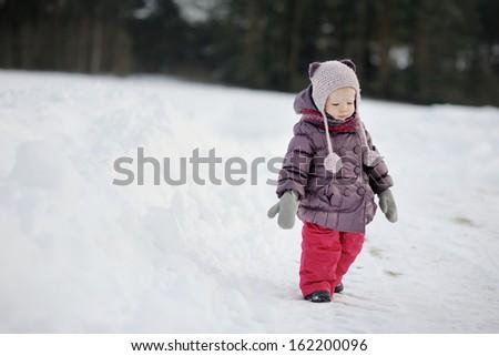 Adorable little girl having fun on winter day - stock photo