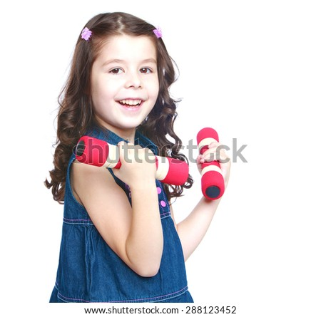 Adorable little girl holding a dumbbell, close-up-isolated on white background - stock photo