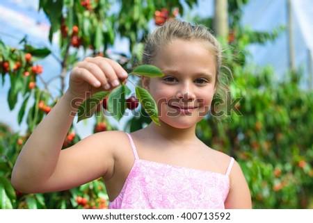 Adorable little girl holding  cherry in cherry garden  - stock photo