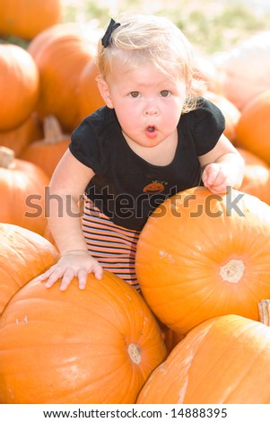 Adorable Little Girl in Pumpkin Patch - stock photo