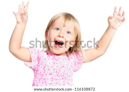 adorable little girl laughing and singing expressively isolated over white - stock photo
