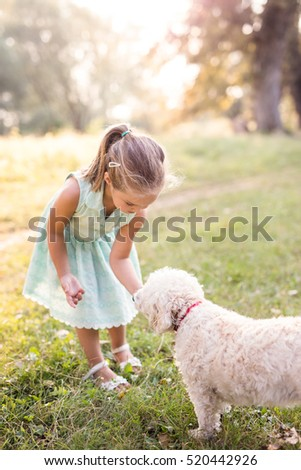 adorable little girl playing with a dog in the park. depth of field. Noise added, motion blur, selective focus