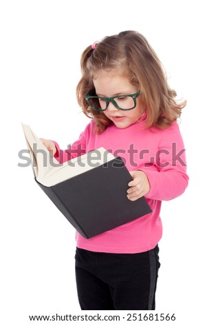 Adorable little girl reading a book isolated on a white background - stock photo