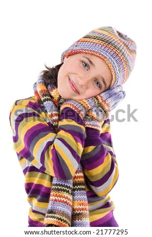 Adorable little girl with clothes for the winter isolated on white - stock photo