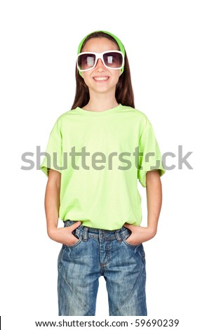 Adorable little girl with funny sunglasses isolated on white background - stock photo