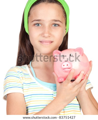 Adorable little girl with money-box isolated on white background