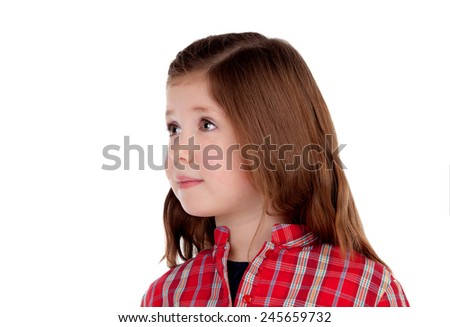 Adorable little girl with red plaid shirt looking at side isolated on a white background - stock photo