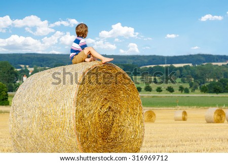 Adorable little kid boy in traditional German bavarian clothes, leather shorts and check shirt. Child sitting on hay stack or bale and dreaming. Active outdoors leisure with children on summer day. - stock photo