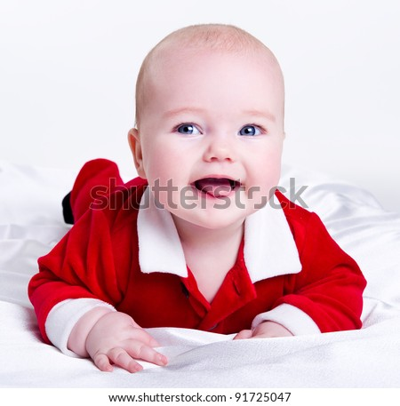 Adorable little santa baby - stock photo