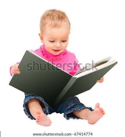 adorable one-year old baby reading a book. isolated on white and space for text - stock photo