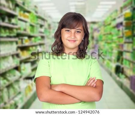 Adorable preteen girl in the market - stock photo