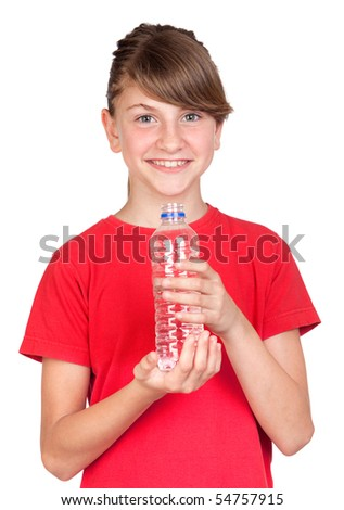 Adorable preteen girl with bottled water isolated on white background - stock photo