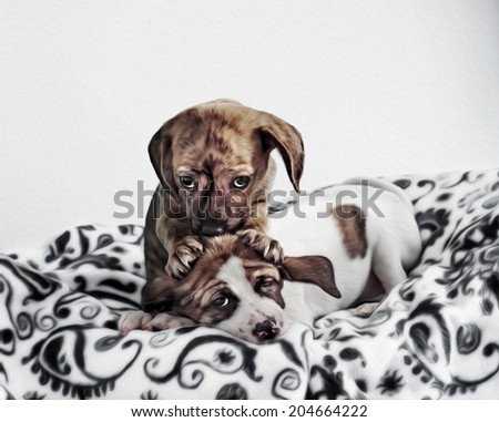 Adorable Puppies Kissing Cuddling Massaging Head Digitally Painted Photograph - stock photo