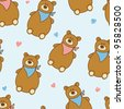 adorable seamless pattern with cute bears in jpg - stock photo