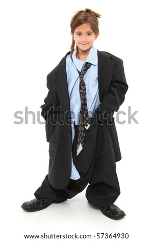 Adorable seven year old american girl in baggy over-sized suit over white background.