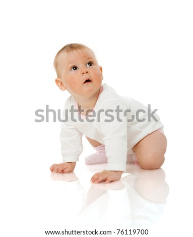 Adorable six month Baby Girl  looking up isolated on white