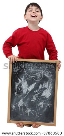 Adorable six year old school boy with chalkboard with clipping path over white. - stock photo