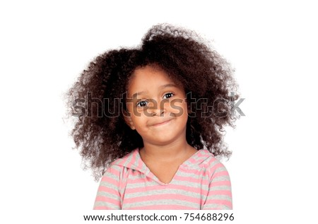 Adorable smal girl with afro hairstyle isolated on a white background