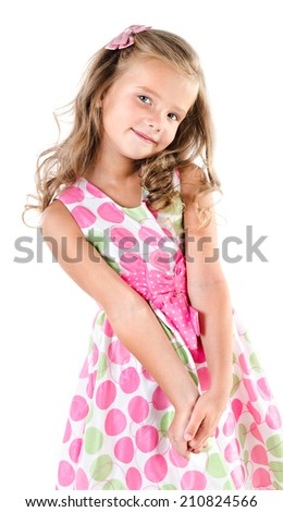 Adorable smiling little girl in princess dress isolated on white - stock photo