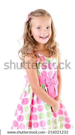 Adorable smiling little girl in princess dress isolated on white