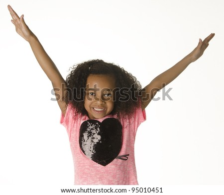 Adorable smiling little girl with curly hair - stock photo