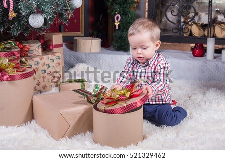 adorable smiling toddler Christmas