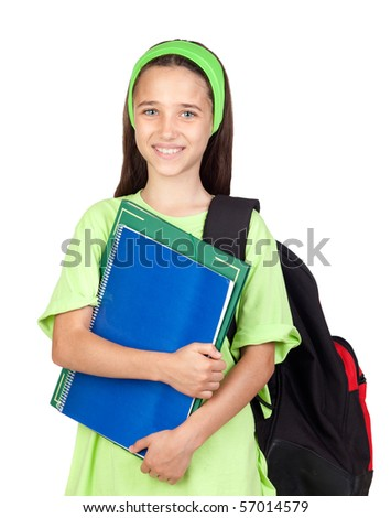 Adorable student girl with blue eyes isolated on white background - stock photo