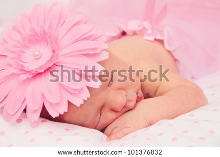 Adorable, sweet ballerina with fluffy pink skirt and flower sleeping tightly - stock photo