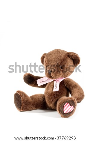 adorable teddy bear siting on the white ground - stock photo