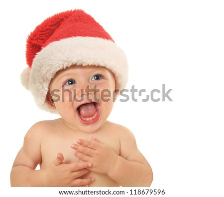 Adorable ten month old Christmas baby. - stock photo