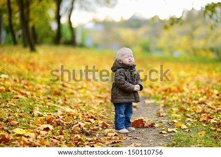 Adorable toddler girl crying on beautiful autumn day - stock photo