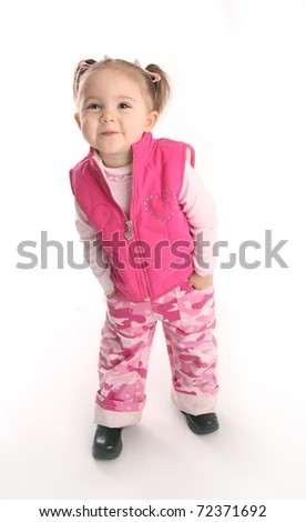 Adorable toddler girl posing, isolated on white - stock photo