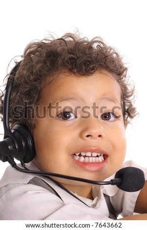 adorable toddler with headset