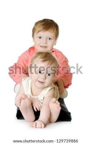 Adorable two children - sister and brother portrait