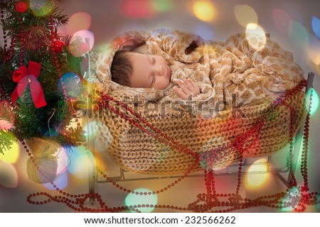Adorable two month old baby boy or girl sleeping Happy New Year  - stock photo