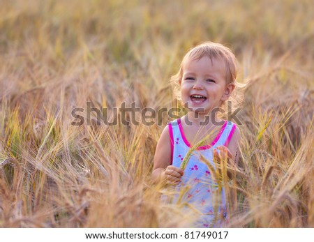 adorable two-year old girl walking in the field of wheat - stock photo