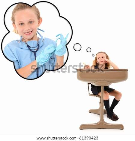 Adorable 7 year old american girl in school desk dreaming about becoming a surgeon over white background. - stock photo
