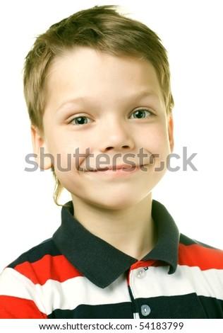 Adorable 7 year old European boy against white background - stock photo