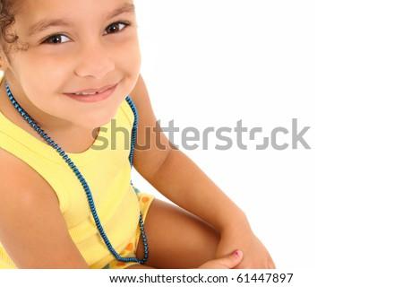 Adorable 3 year old hispanic african american girl - stock photo