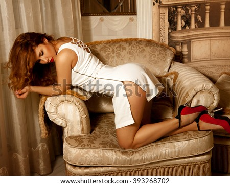 Adorable young brunette lady posing doggy style on chair. Seductive woman. Sexual woman. the concept of seduction, pleasure and desire - stock photo