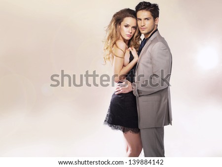 Adorable young couple - stock photo