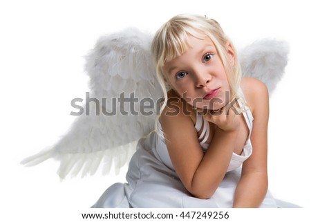 adorable young girl dressed as an angel, isolated on white - stock photo