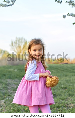 Adorable young girl holds an small basket - stock photo