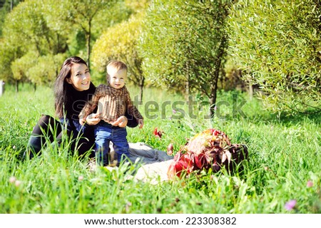 Adorable young mother with toddler son, having picnic on a sunny autumn day  - stock photo