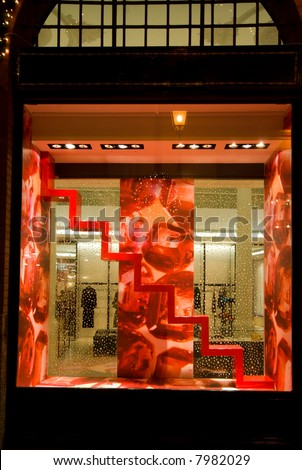 Adorned shop window of a luxury shop. - stock photo