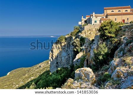 Adriatic coastal town on the rock - Lubenice, Island of Krk, Croatia - stock photo